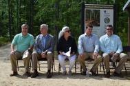 Speakers at Opening of Trail: (LtoR) Skipp Skaggs, Commissioner Mike Tagert, Martha Dalrymple, P&R Mgr Rory Thornton, Mayor Brad Blalock